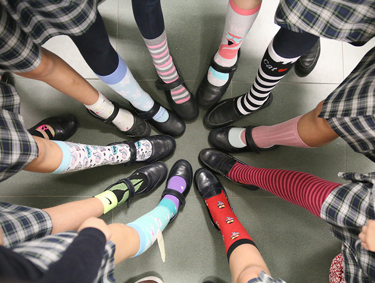 Odd socks day at Caxcton College